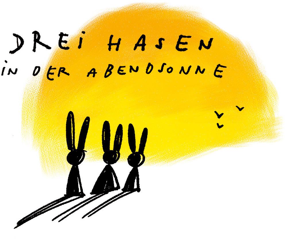Drei Hasen in der Abendsonne